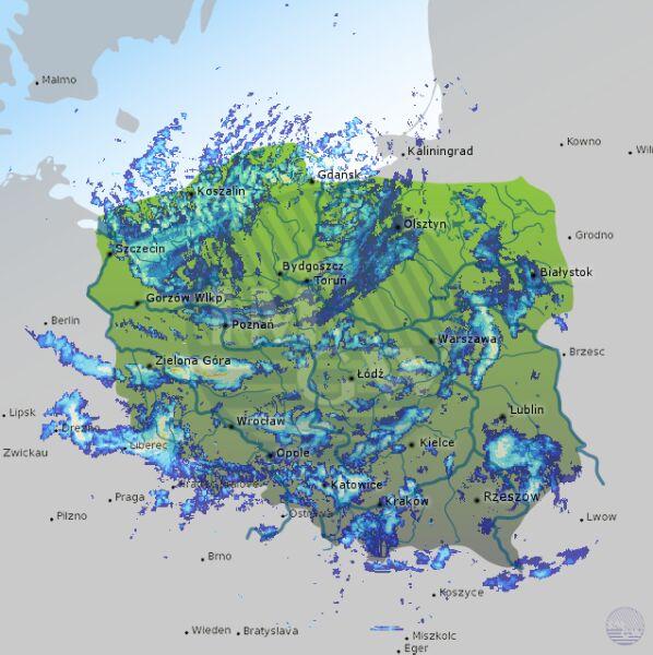 Radar opadów (g. 14:50)