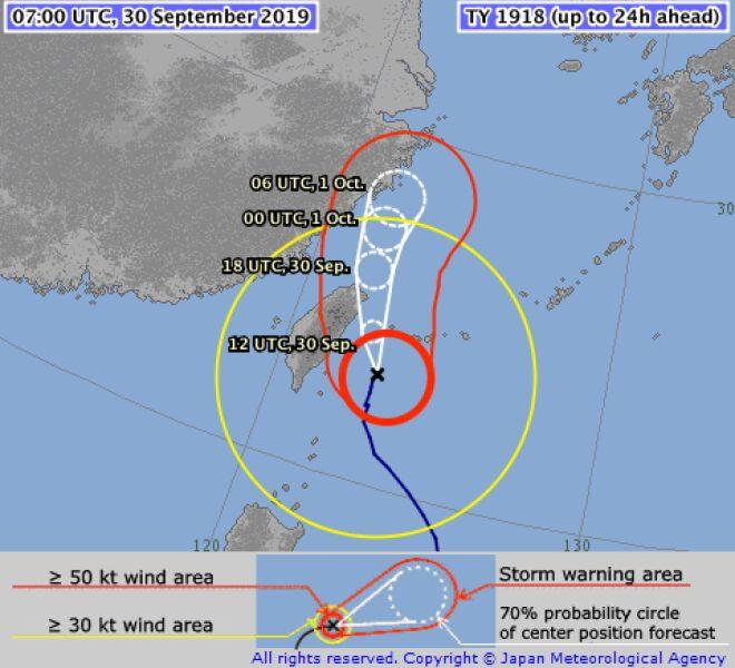 Prognozowana trasa tajfunu Mitag (jma.go.jp)